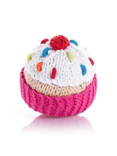 Cotton Hand Knit Cupcake Rattle