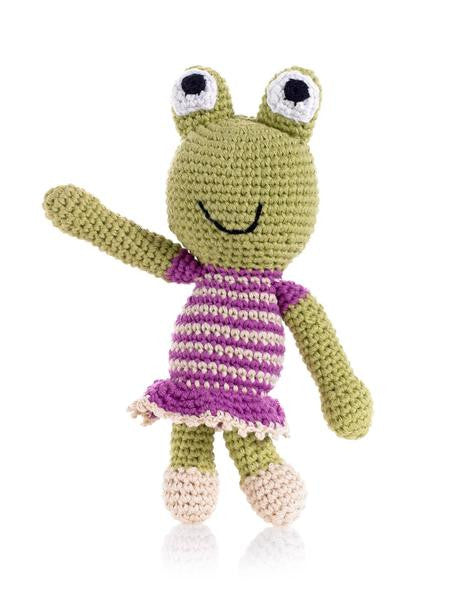 Cotton Hand Knit Frog Rattle
