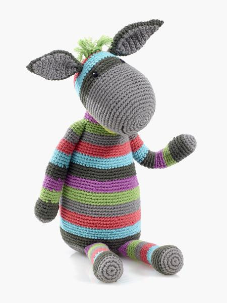 Cotton Hand Knit Large Toy Donkey