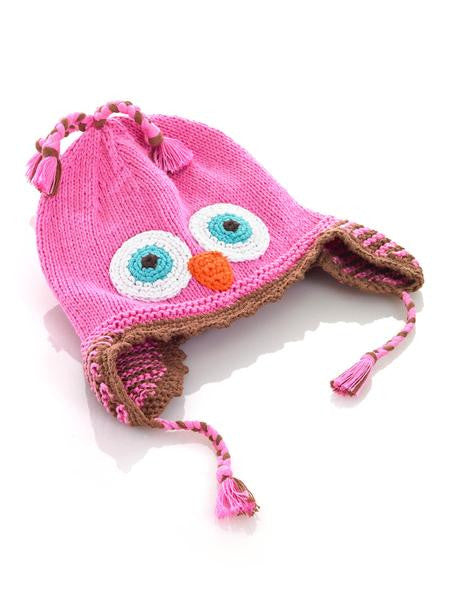 Cotton Hand Knit Pink Owl Hat