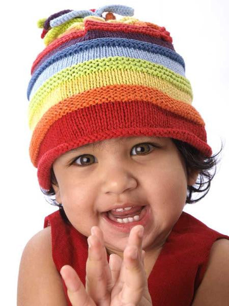Cotton Hand Knit Rainbow Hat