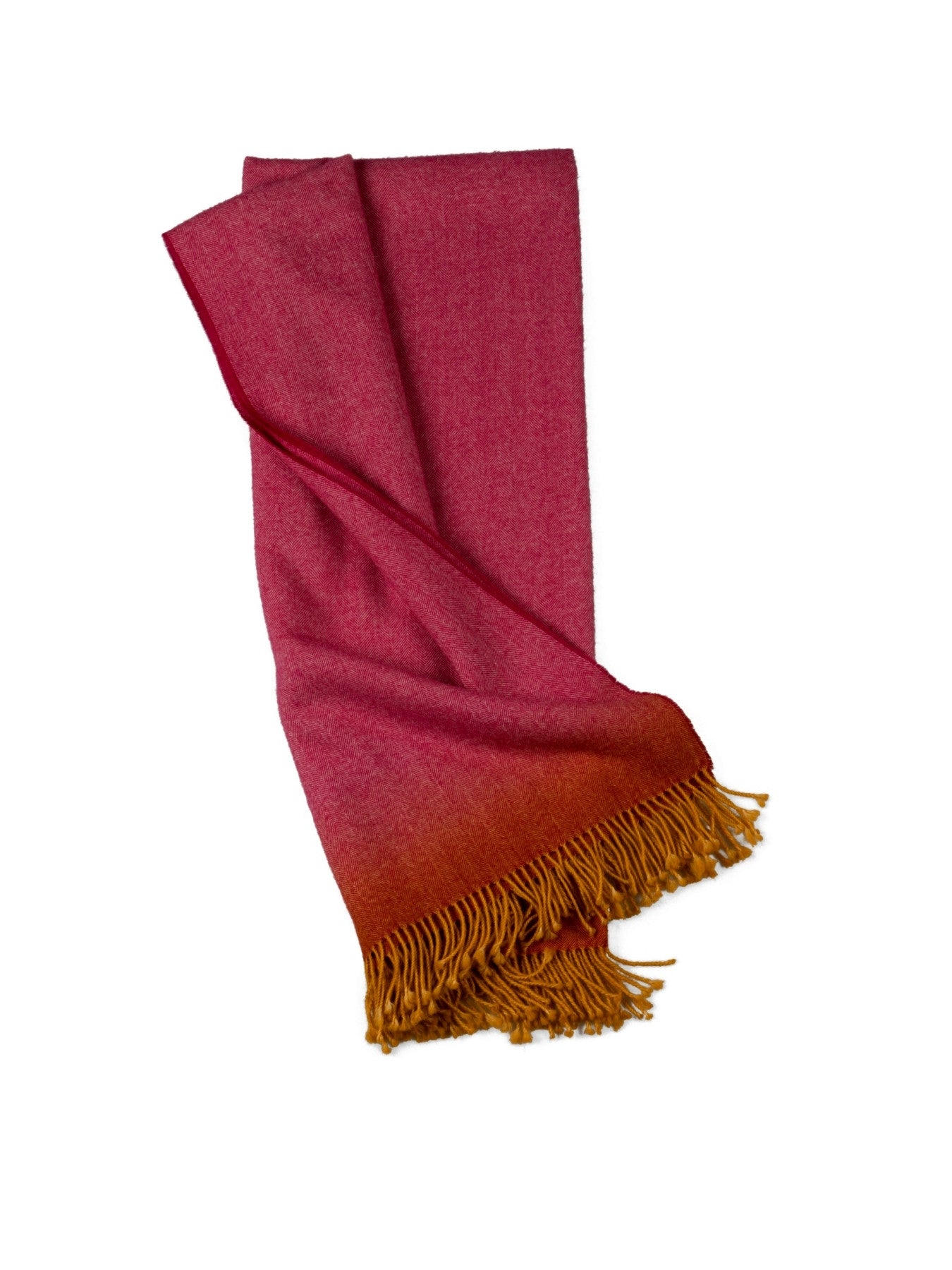 Fringe Dyed Baby Alpaca Throw-Pink w/Yellow