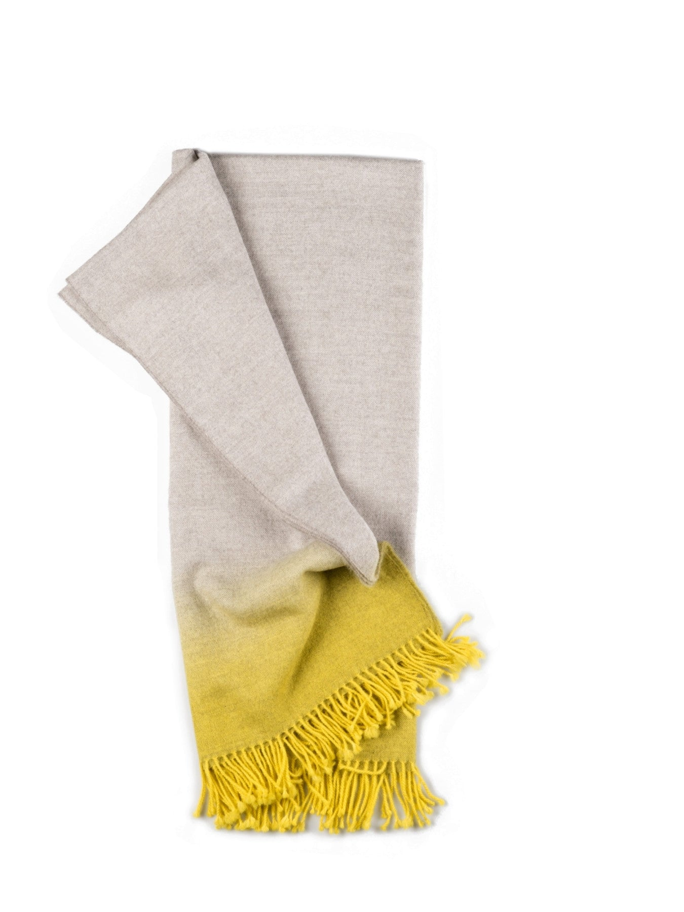 Fringe Dyed Baby Alpaca Throw-Yellow