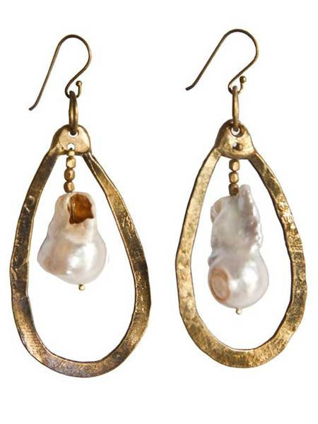 Galaxy Brass & Fresh Water Pearl Earrings