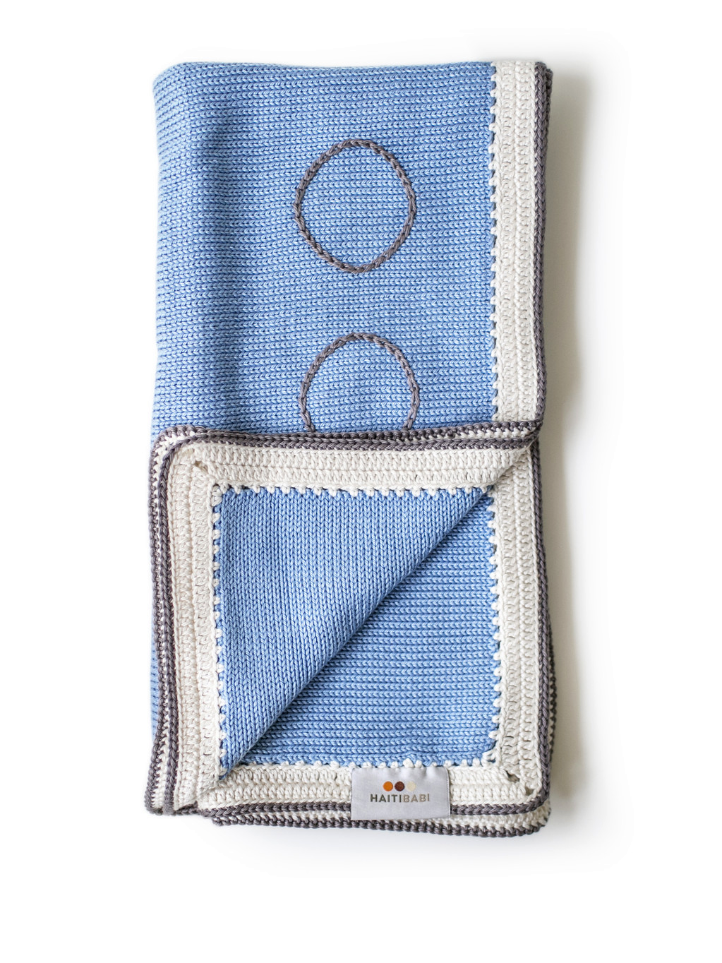 Hand-knit Pima Cotton Baby Blanket (light blue)