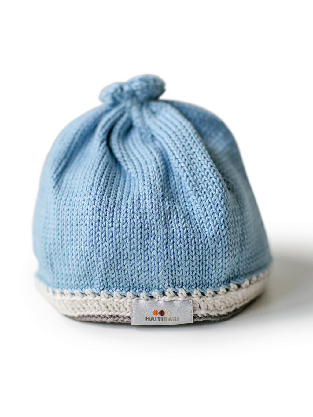 Hand-knit Pima Cotton Baby Hat (light blue)