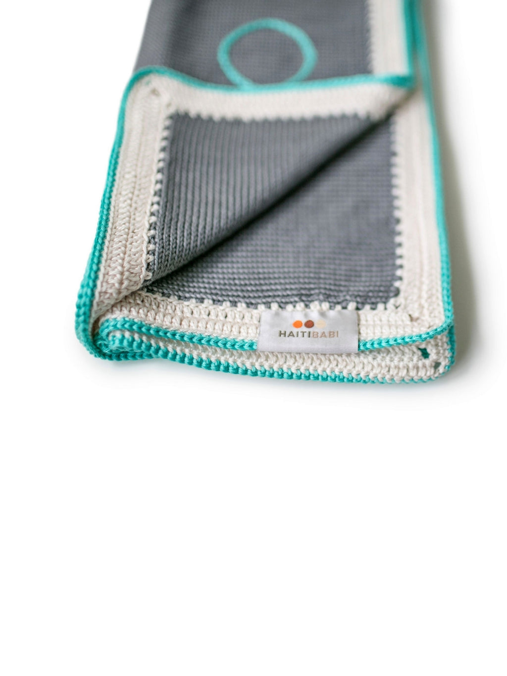 Hand-knit Pima Cotton Baby Blanket (Stone and Teal)