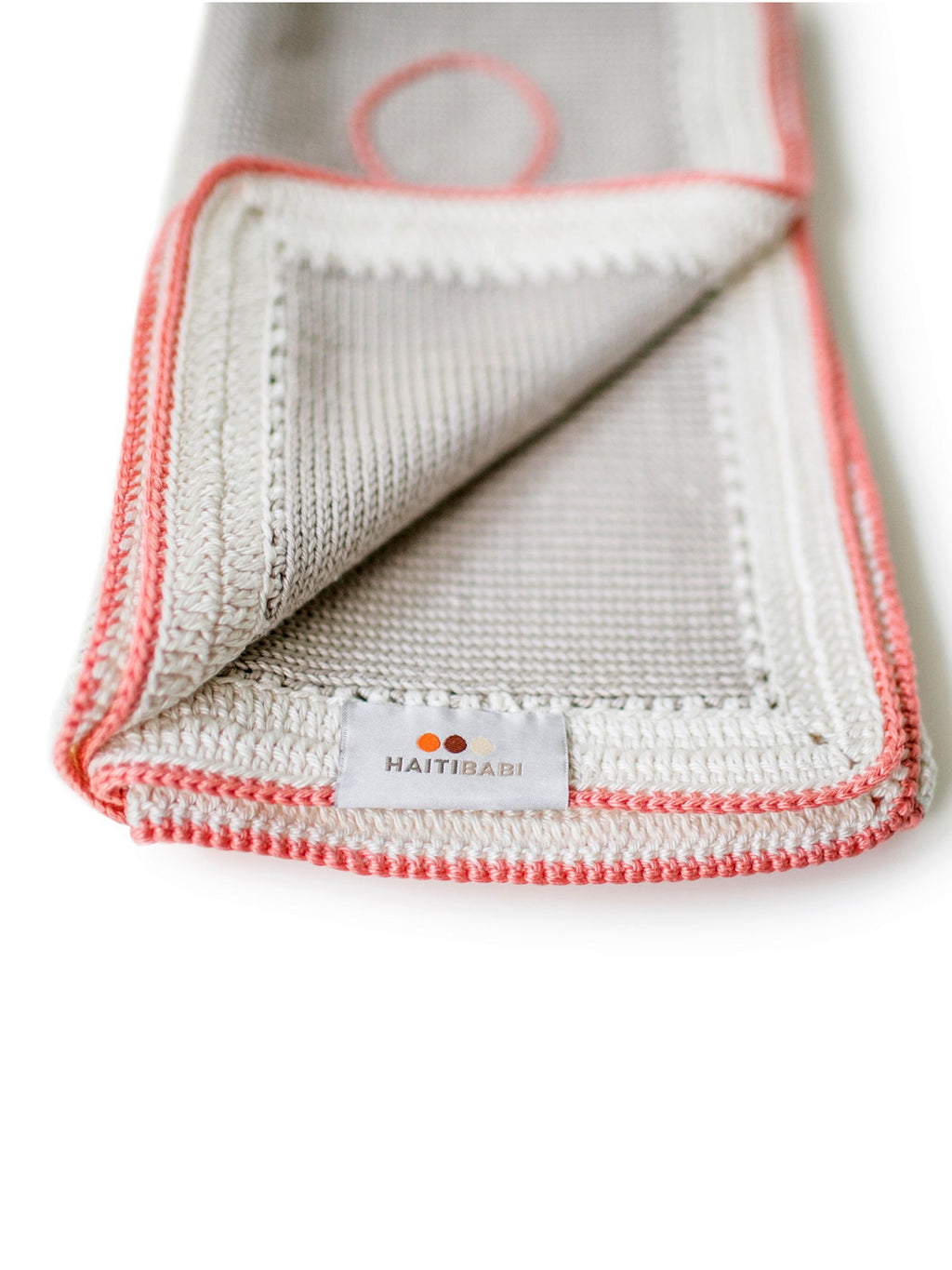 Hand-knit Pima Cotton Baby Blanket (taupe coral)