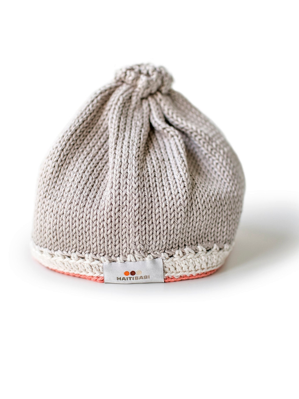 Hand-knit Pima Cotton Baby Hat (taupe coral)