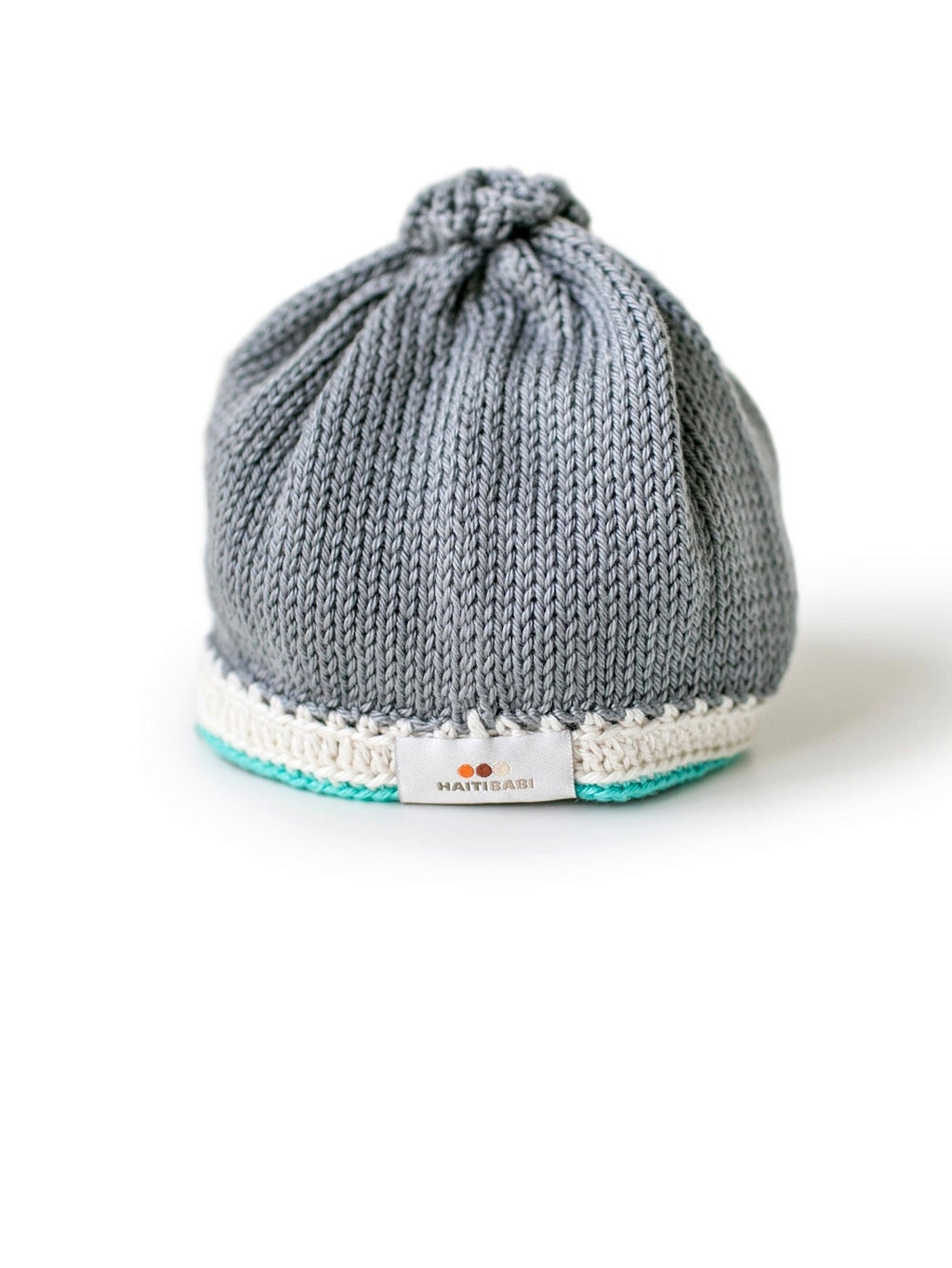 Hand-knit Pima Cotton Baby Hat (Stone and Teal)