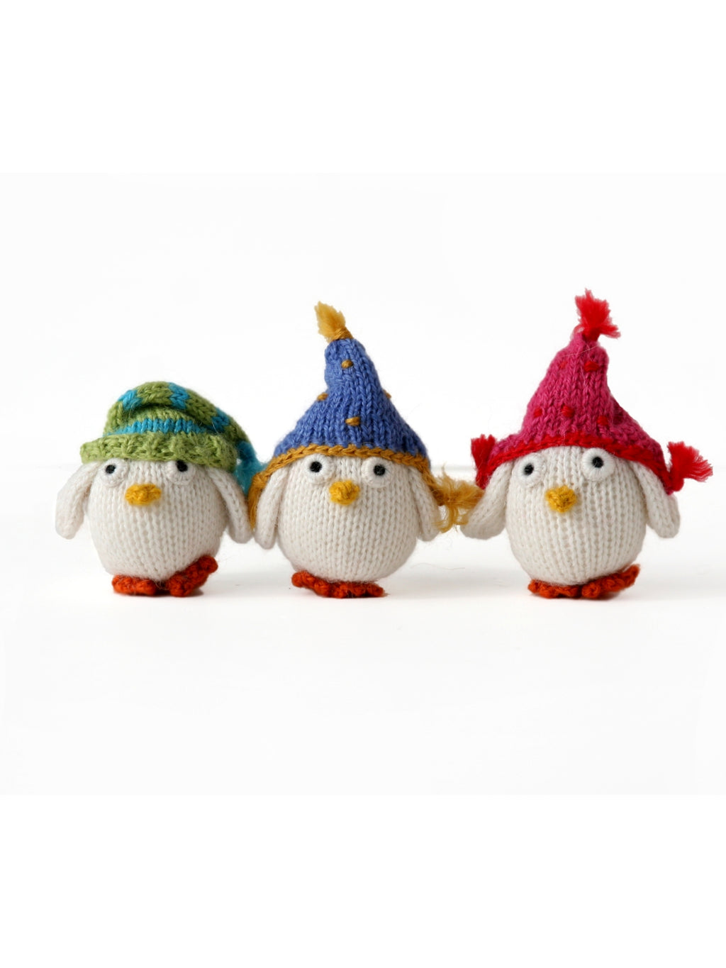 Hand knit Snowy Owl Ornaments Set of 6