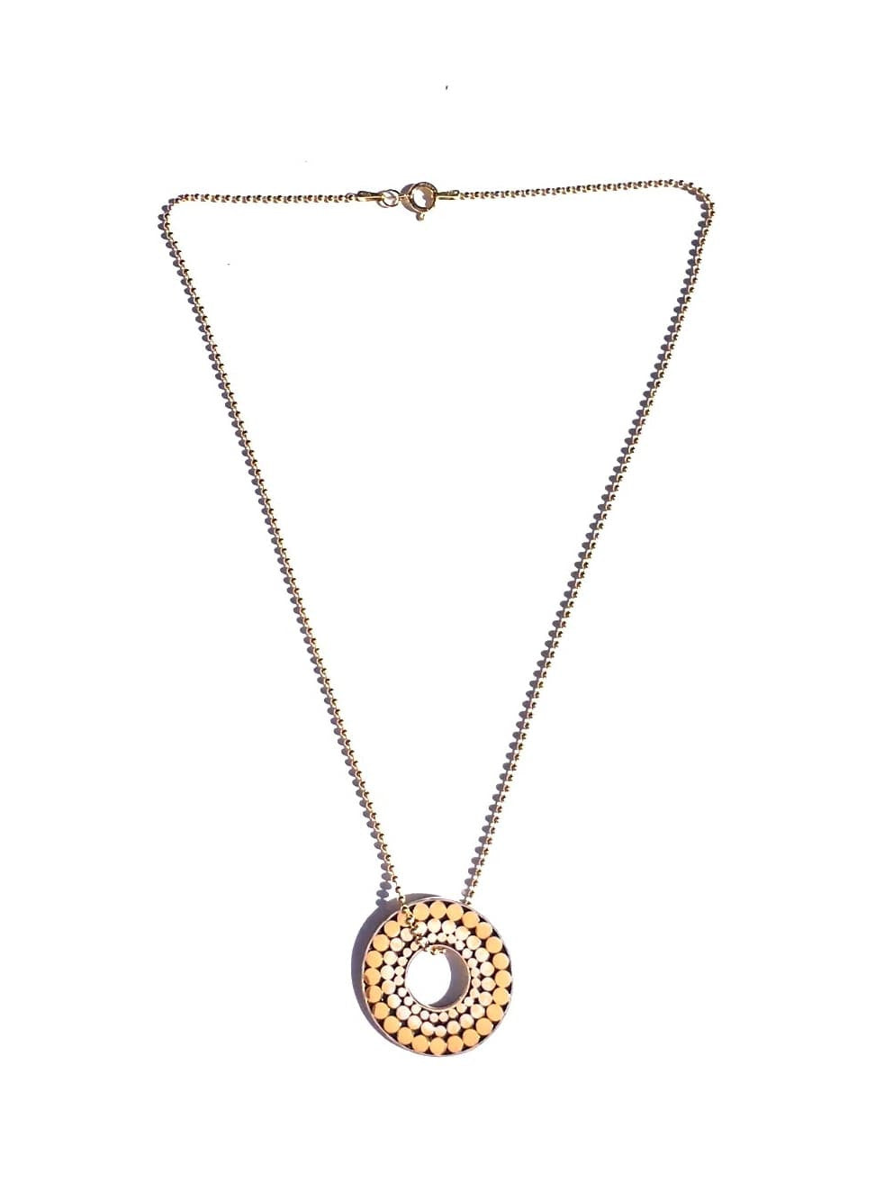 Kathy Kamei Silver & Gold Triple Life Circle Pendant on Gold Ball Chain