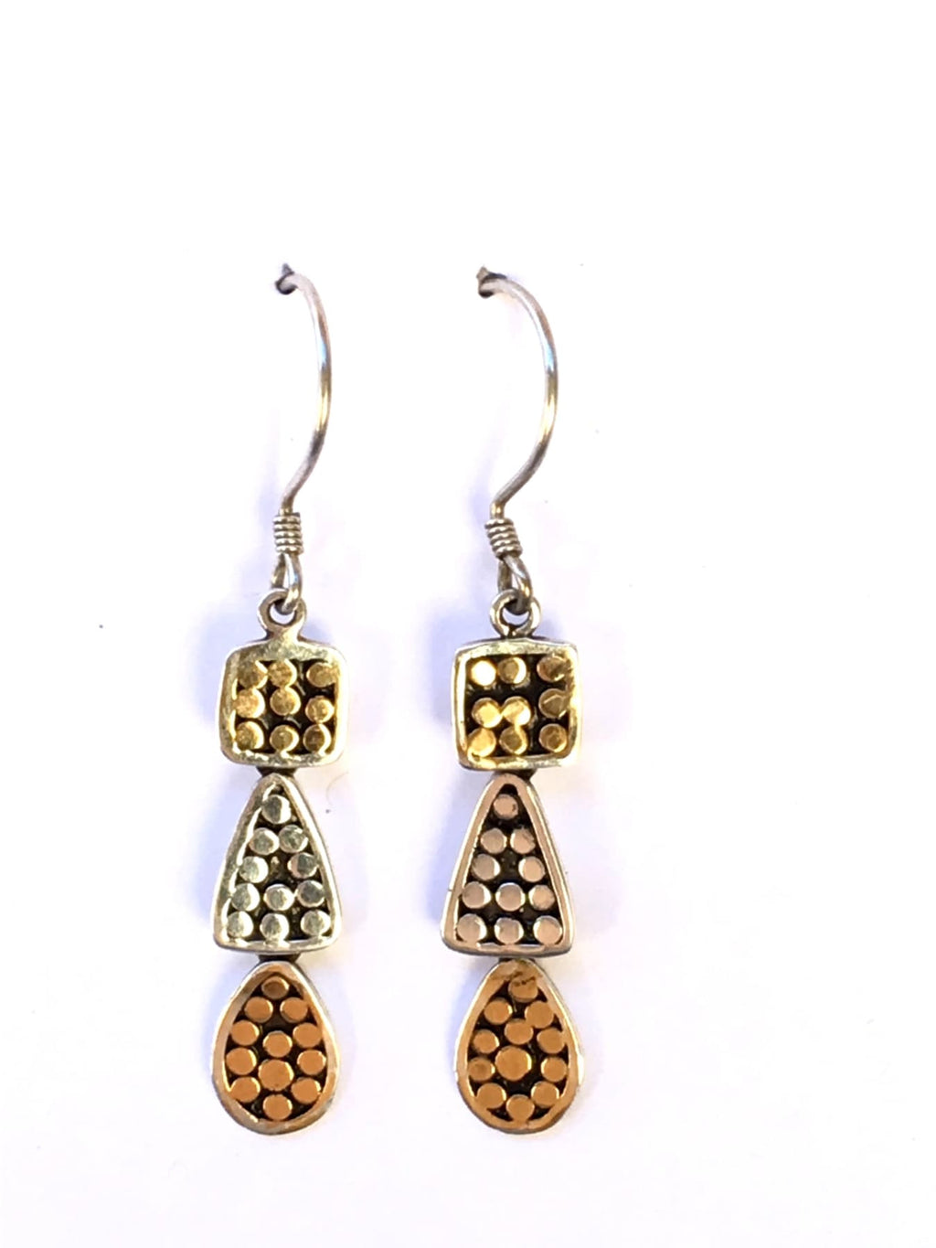 Kathy Kamei Sterling Silver and Gold Geometric Dangle Earrings