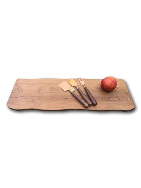 Large Teak Bread and Cheese Board with Copper Cheese Set