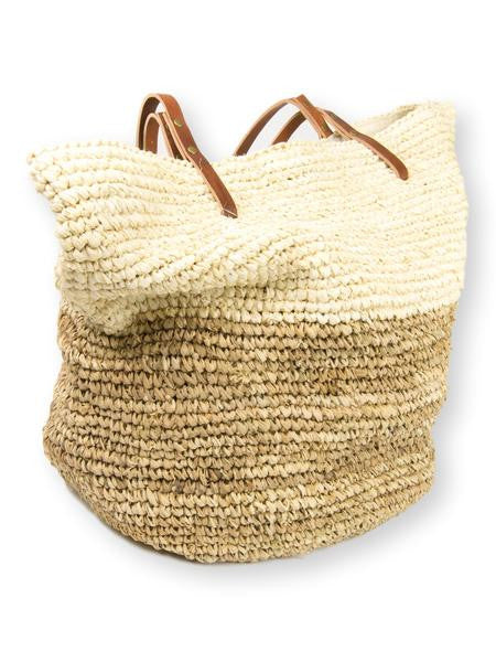 Natural Two-Toned Large Raffia Bag