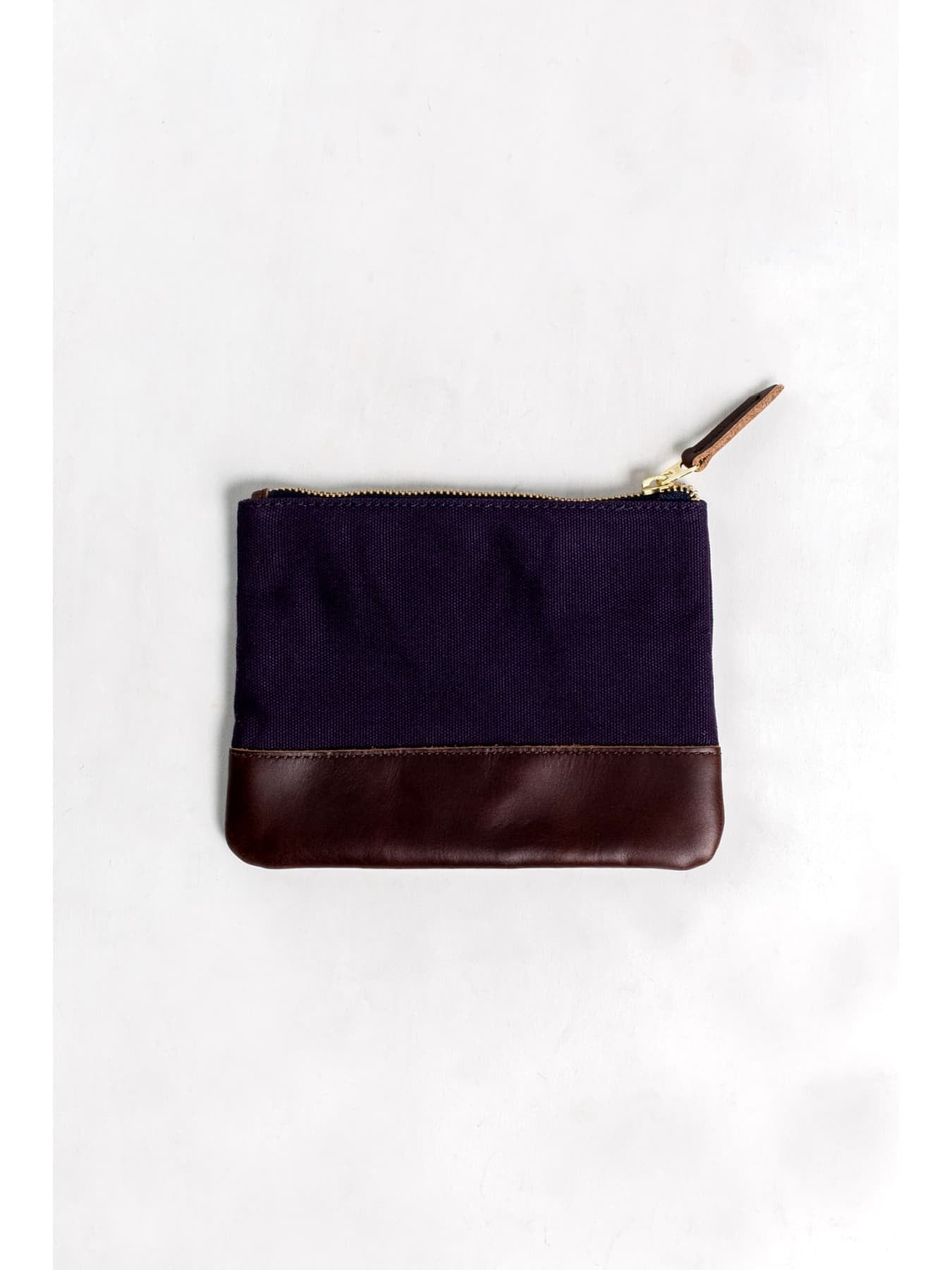 Small Cotton Canvas and Leather Pouch