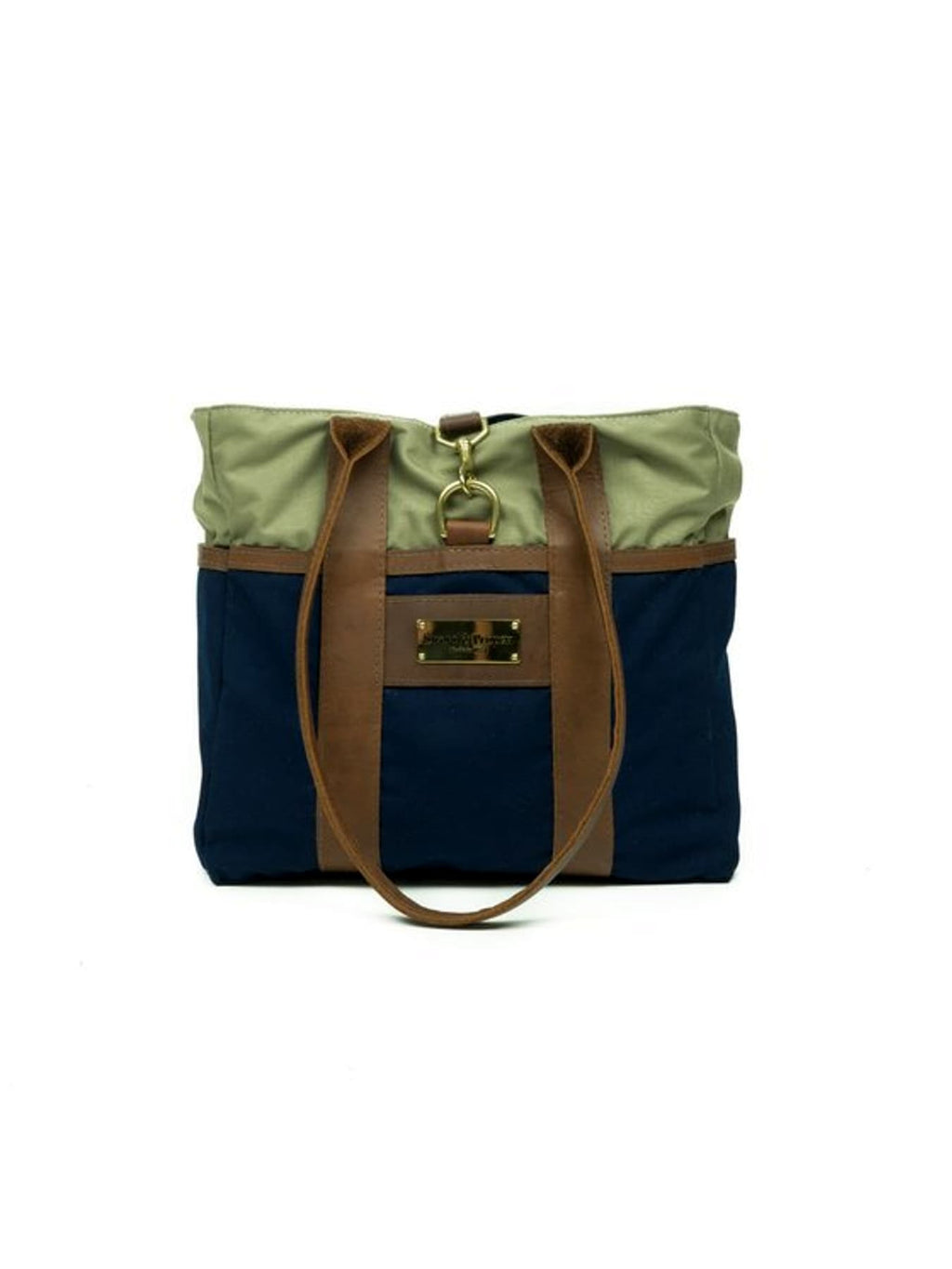 Blue Water Resistant Canvas and Leather Tote Bag