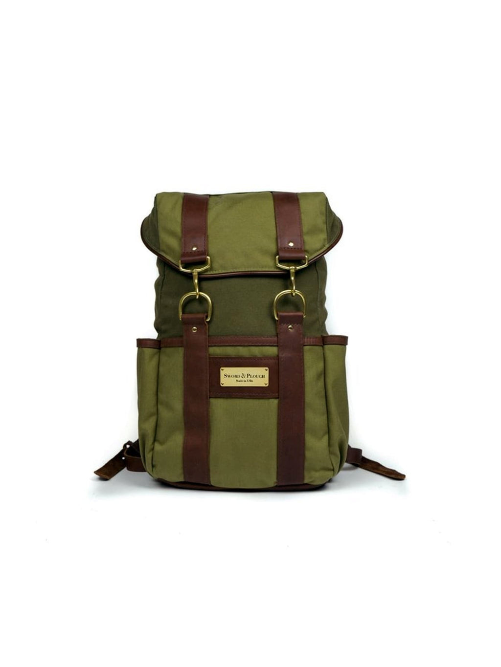 Green Canvas and Leather Rucksack