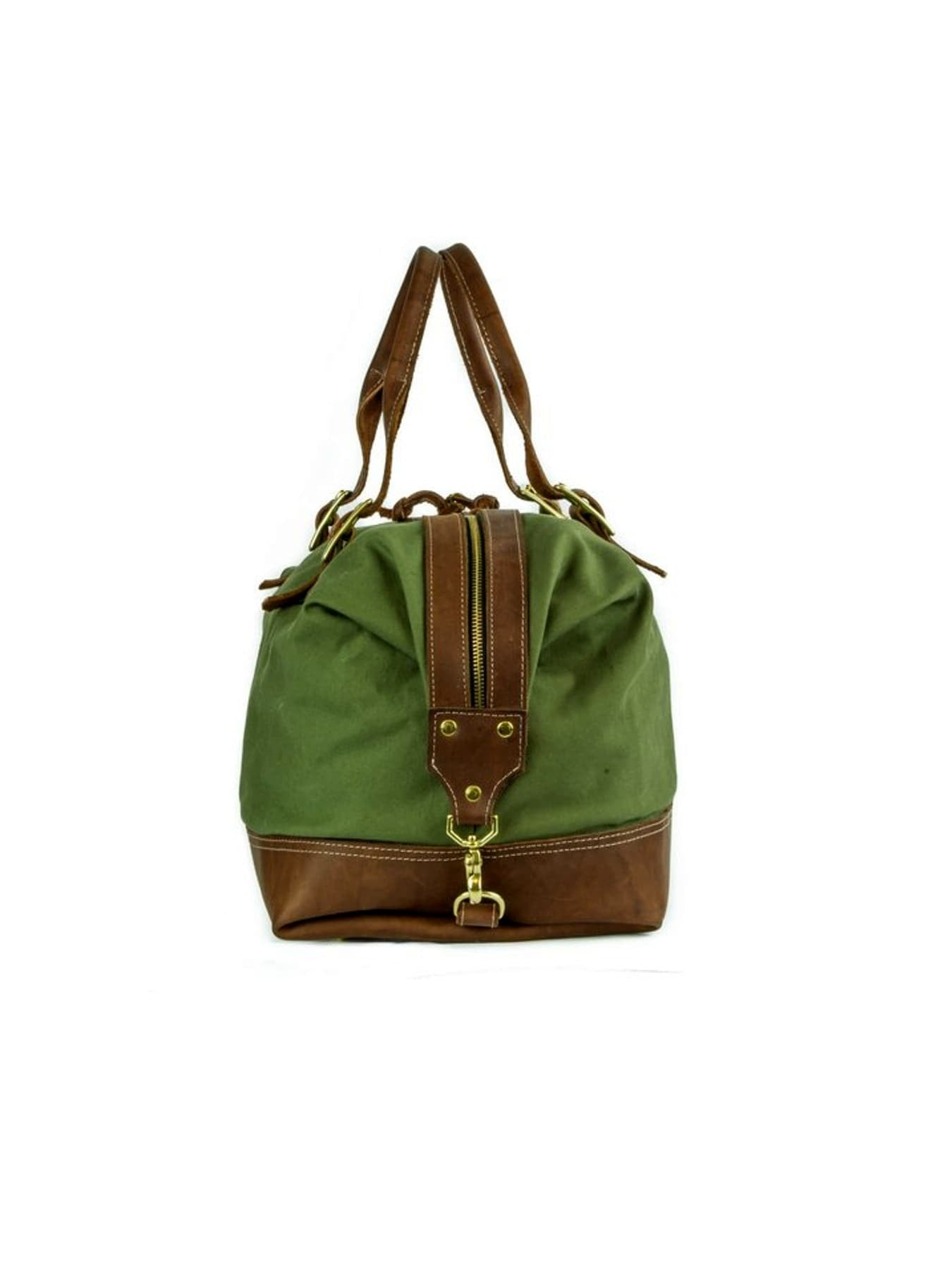 Green Cotton Canvas Weekender Bag
