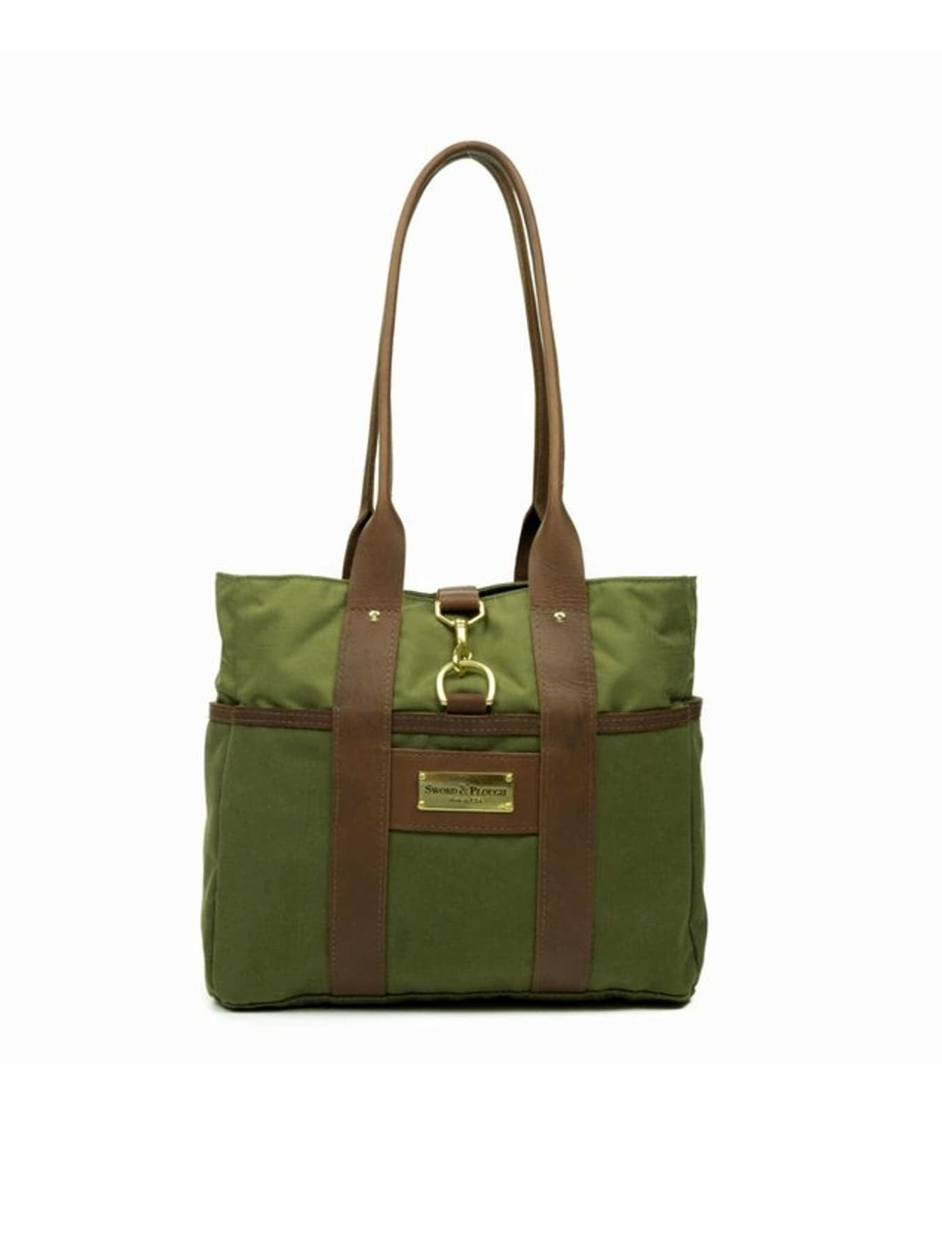 Green Water Resistant Canvas and Leather Tote Bag