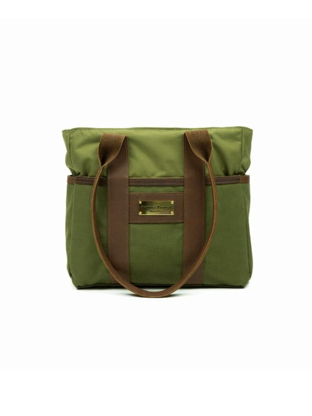 Green Water Resistant Zip Top Tote Bag