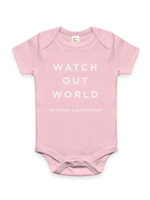 Watch Out World Cotton Onesie - Pink