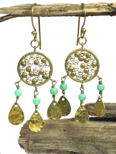 Akasha Brass & Opal Chandelier Earrings