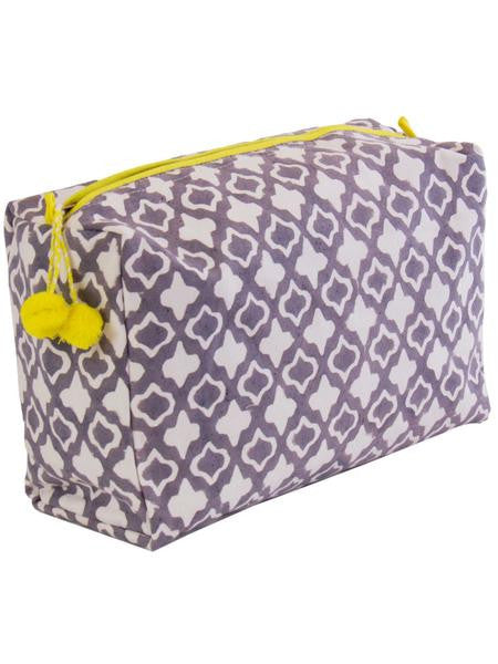 Block Printed Eyelet Toiletry Bag