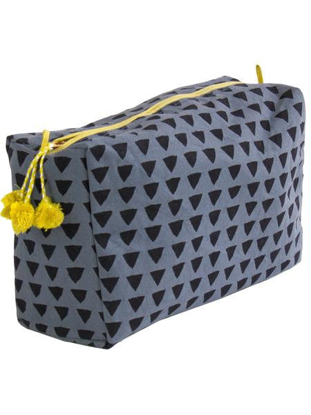 Block Printed Tunis Blue Toiletry Bag