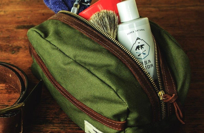 Green Water Resistant Leather Travel Kit
