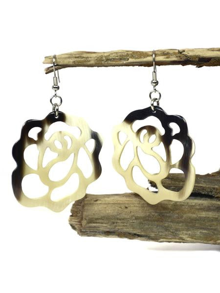 Horn Rose Earrings