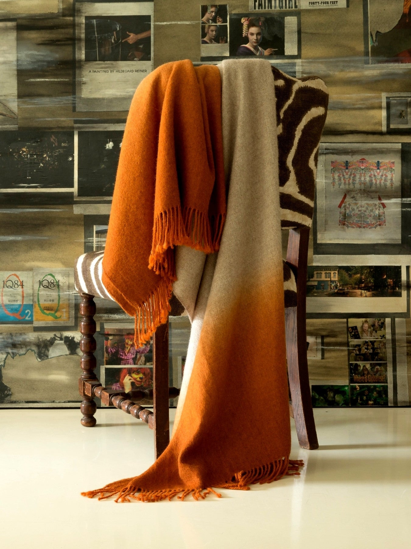 Fringe Dyed Baby Alpaca Throw-Marsala