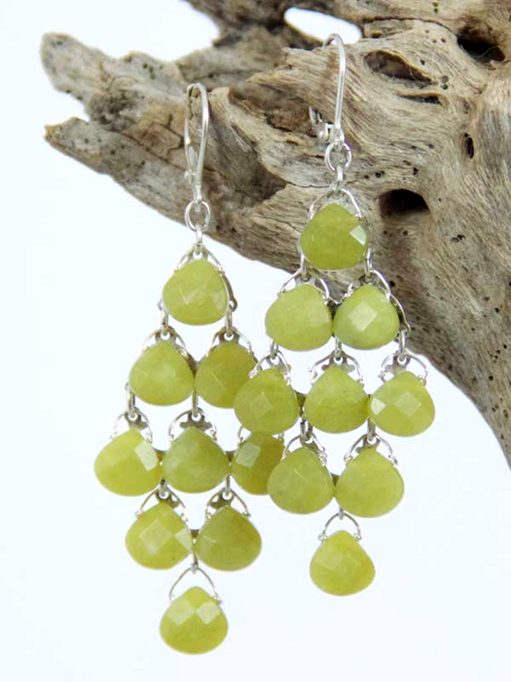Stone Briolette Chandelier Earrings