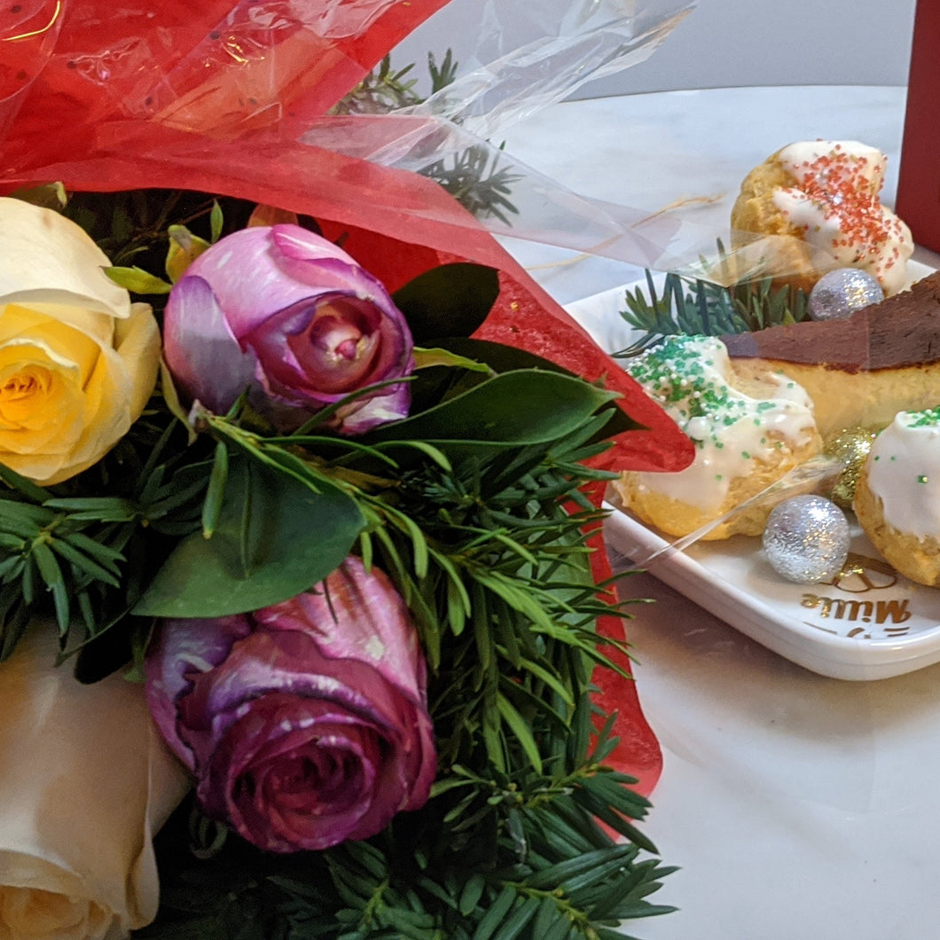 Millie Desserts Holiday Dessert Box. Crepe Cake. Hot Chocolate. Marshmallows. Christmas Desserts. Flowers.
