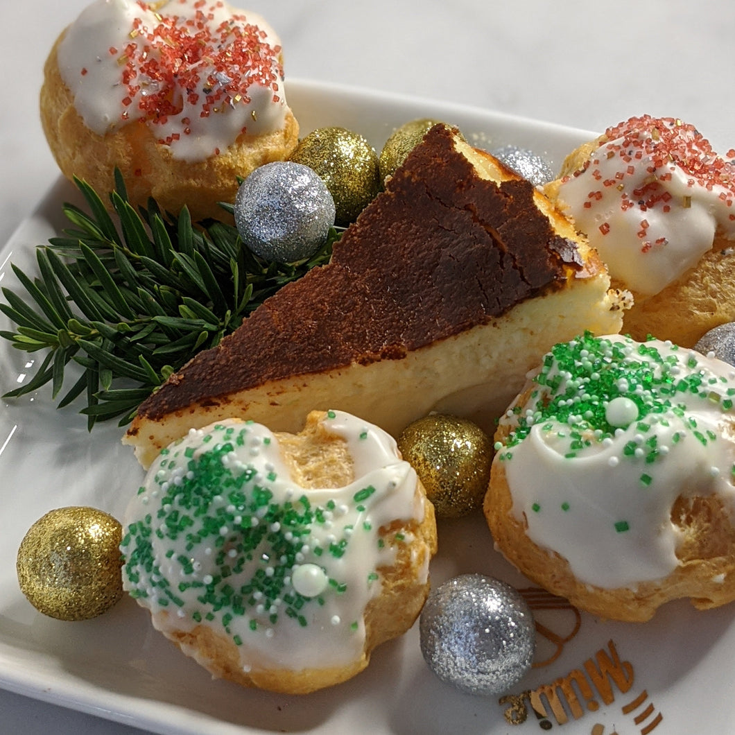 Millie Desserts Holiday Dessert Box. Crepe Cake. Cream Puffs. Christmas Desserts. Cheesecake.