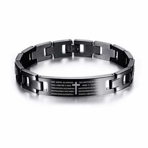 Cross Bible Black Titanium Men Magnet Bracelet Healing Jewelry Men Gift