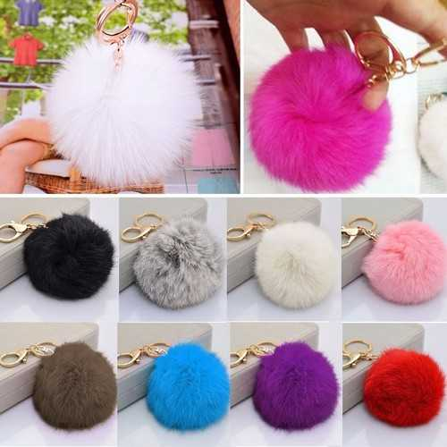 Cute Soft Multicolors Fur Ball Pendant Hang Bag Car Key Chain Ring Decoration Gift