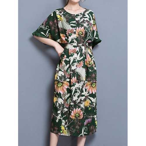 Elegant Floral Half Sleeve Dress
