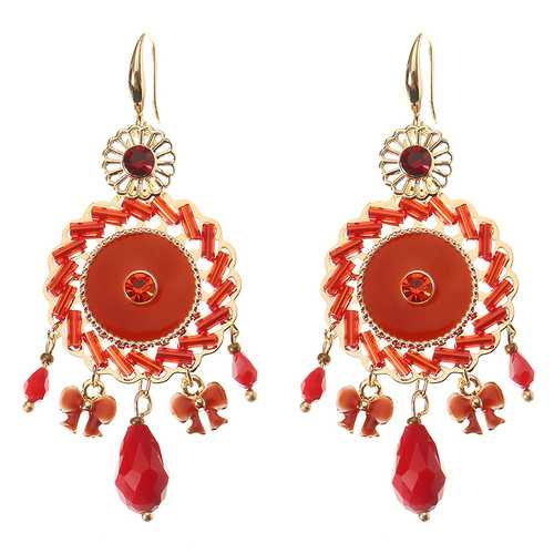 Bohemian Retro 14K Gold Plated Earrings Ethnic Sun Shape Bowknot Red Zircon Ear Drop for Women