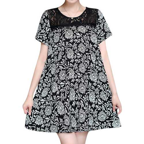 Women Lace Print Short Sleeved Dresses Round Neck Mini Dress