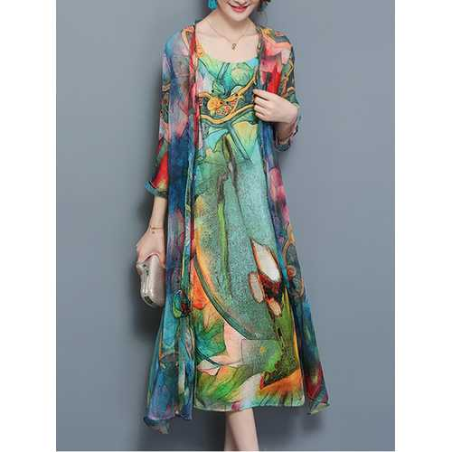 Women Floral Two Pieces Set Straps 3/4 Sleeve Vintage Dress