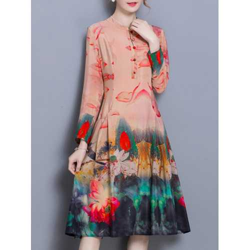 Chinese Style Floral Print Vintage Dresses