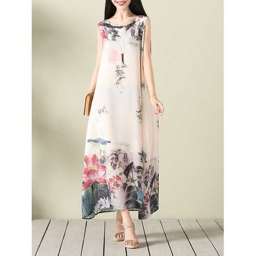 Lotus Printed Sleeveless Dress