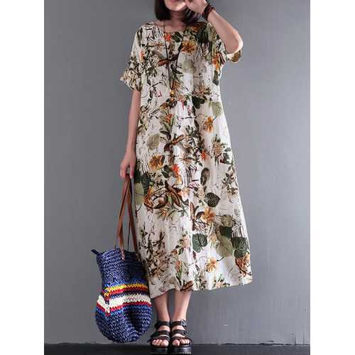Women Vintage Retro Short Sleeve Cotton Floral Maxi Dress