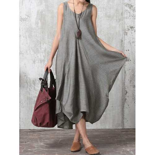 Women Sleeveless V Neck Asymmetric Maxi Dress
