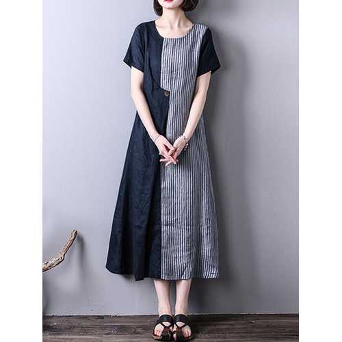 Women Vintage Striped Short Sleeve Splice Mid-long Dress