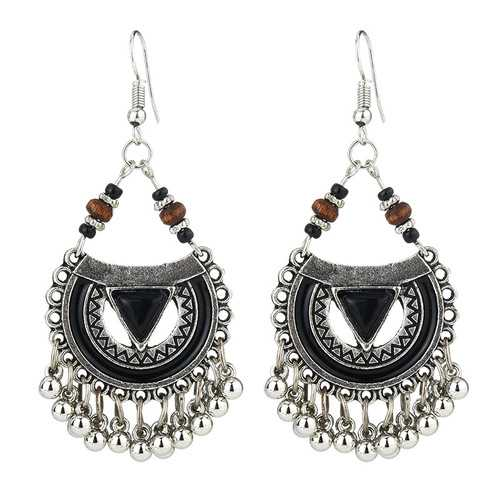 Ethnic Exaggerated Multielement Triangle Fan Shaped Earring