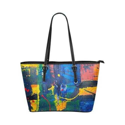 Shoulder Tote Bag, Red and Blue Splattered Paint Style Leather Tote Bag