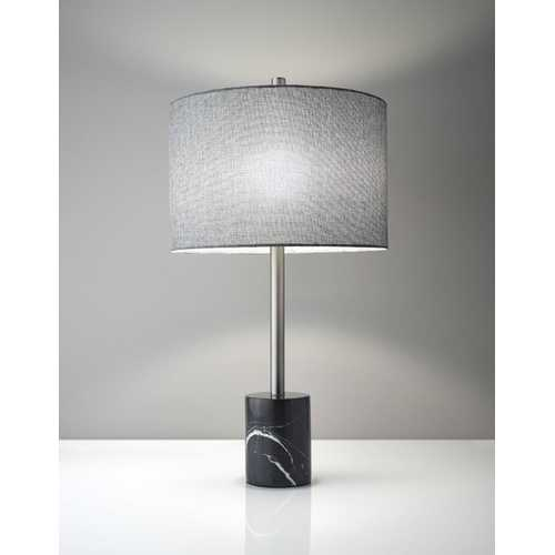 "15"" X 15"" X 28"" Brushed Steel Marble Table Lamp"