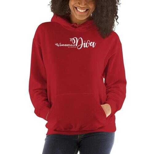 Womens Hoodies, Wonderfully Created Diva Graphic Style Hooded Top